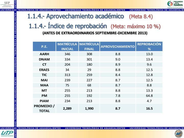 1.1.4.- Aprovechamiento académico