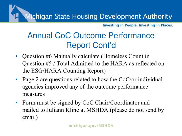 Annual CoC Outcome Performance Report Cont'd