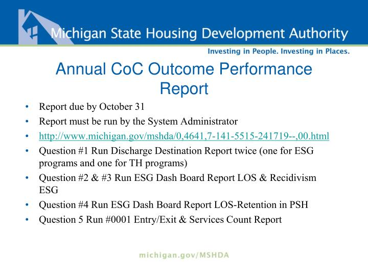 Annual CoC Outcome Performance Report