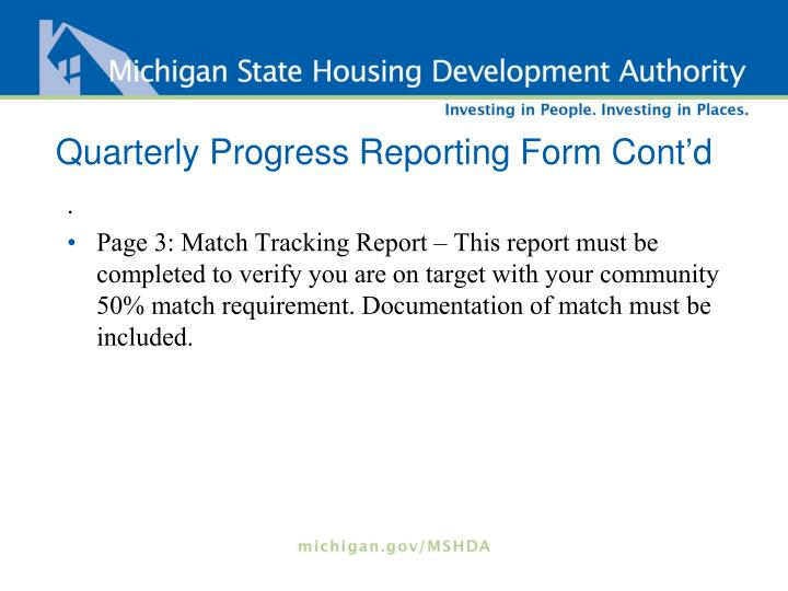 Quarterly Progress Reporting Form Cont'd