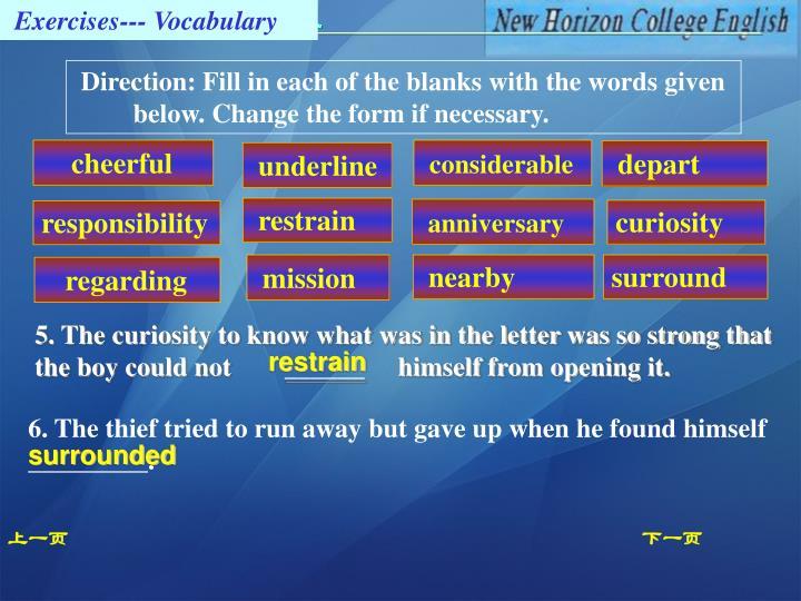 Exercises--- Vocabulary