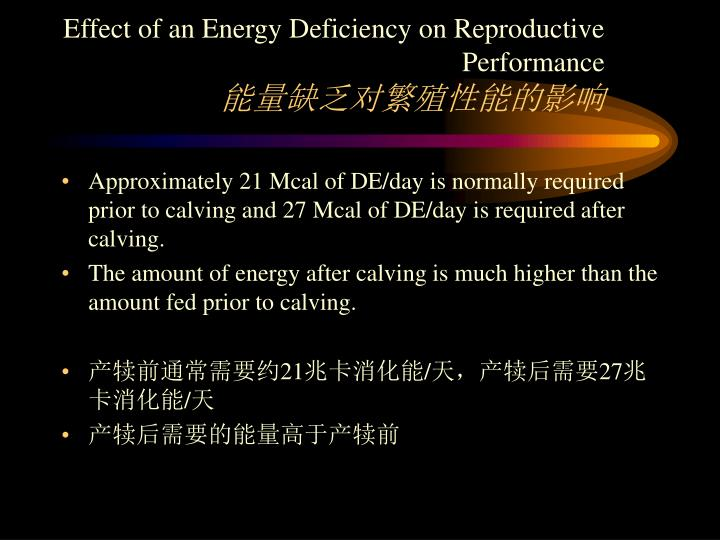 Effect of an Energy Deficiency on Reproductive Performance