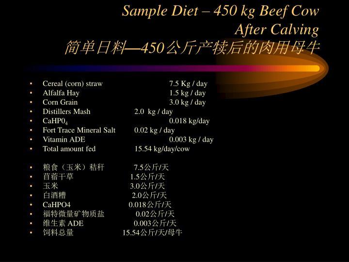 Sample Diet – 450 kg Beef Cow