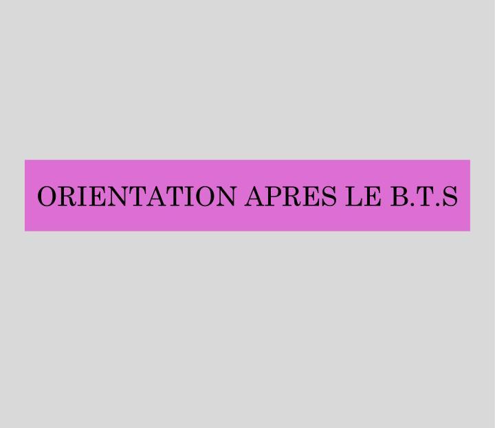 ORIENTATION APRES LE B.T.S