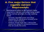 a five major factors that regulate nutrient requirements