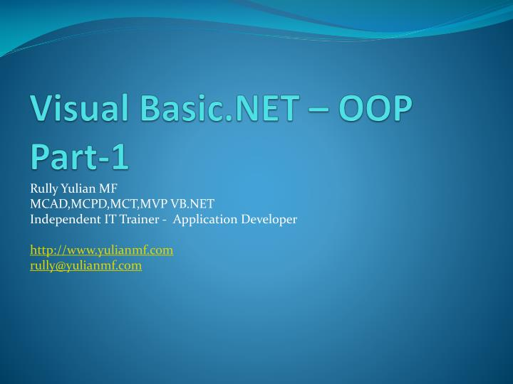 visual basic net oop part 1 n.