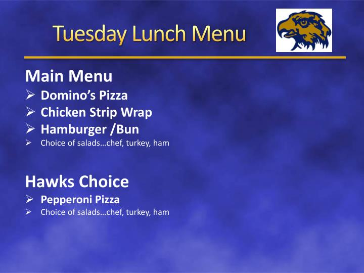 Tuesday lunch menu