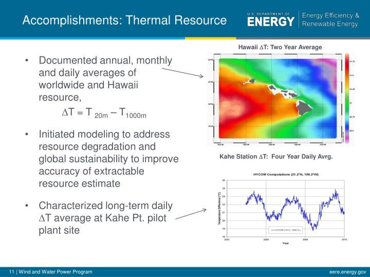 Accomplishments: Thermal Resource