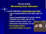 focus areas worsening local indicators