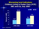 worsening local indicators children living in foster care 25 sbc and ca july 2007