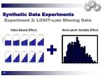 synthetic data experiments experiment 2 logit v mz missing data