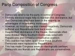 party composition of congress