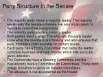 party structure in the senate