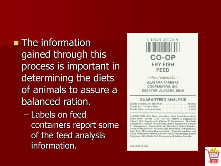 The information gained through this process is important in determining the diets of animals to assure a balanced ration.