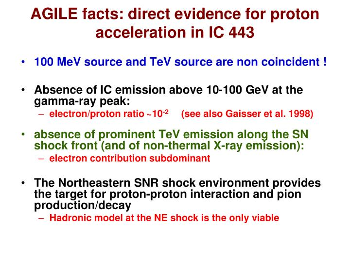 AGILE facts: direct evidence for proton acceleration in IC 443