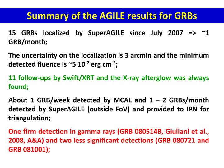 Summary of the AGILE results for GRBs