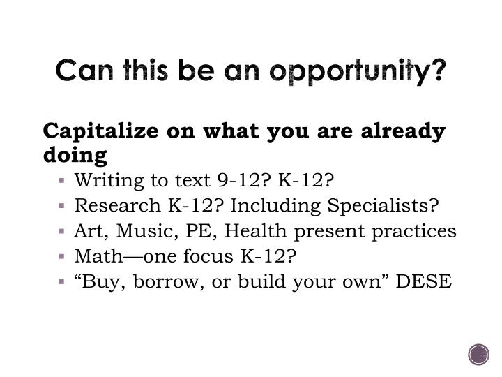 Can this be an opportunity?