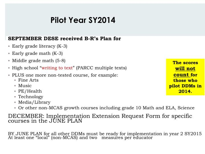 Pilot Year SY2014