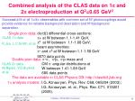 combined analysis of the clas data on 1 p and 2 p electroproduction at q 2 0 65 gev 2