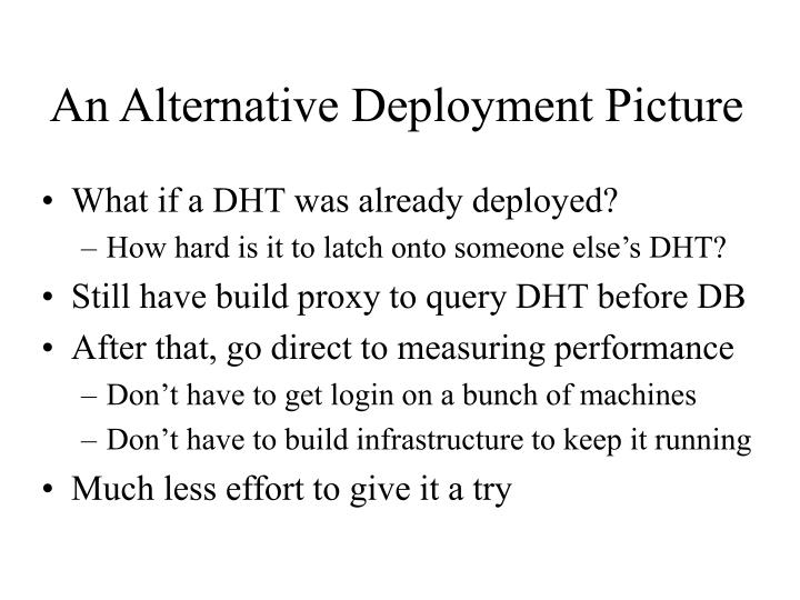 An Alternative Deployment Picture