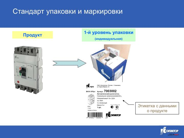 Стандарт упаковки и маркировки