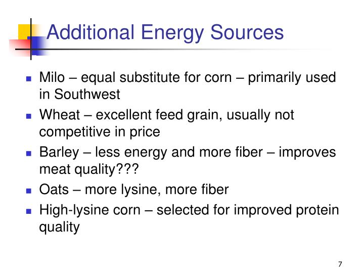 Additional Energy Sources