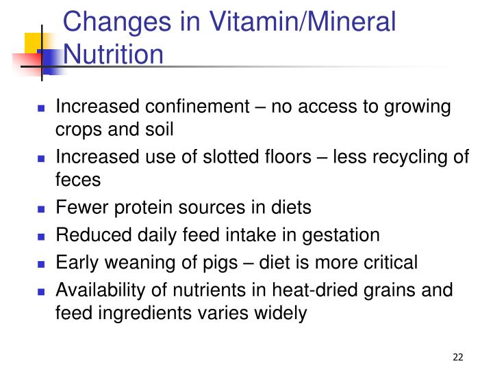 Changes in Vitamin/Mineral Nutrition