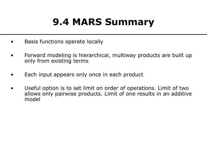 9.4 MARS Summary