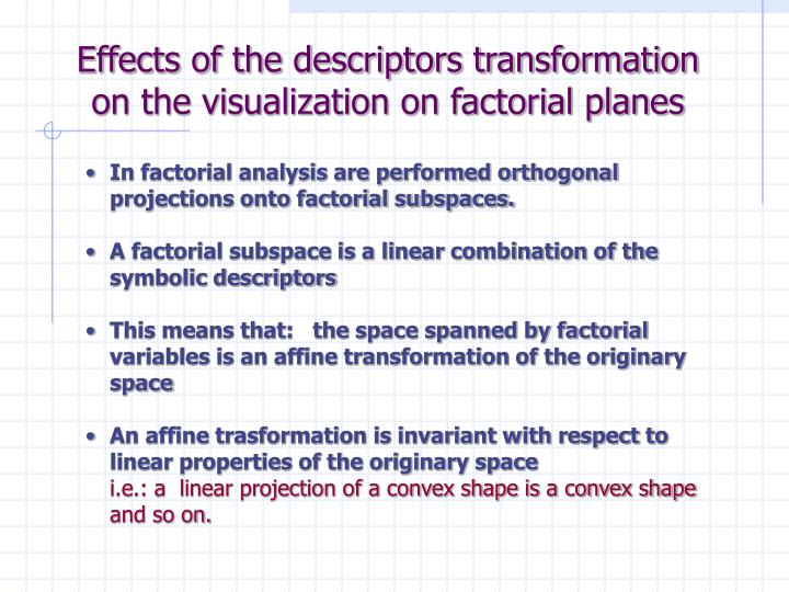Effects of the descriptors transformation on the visualization on factorial planes