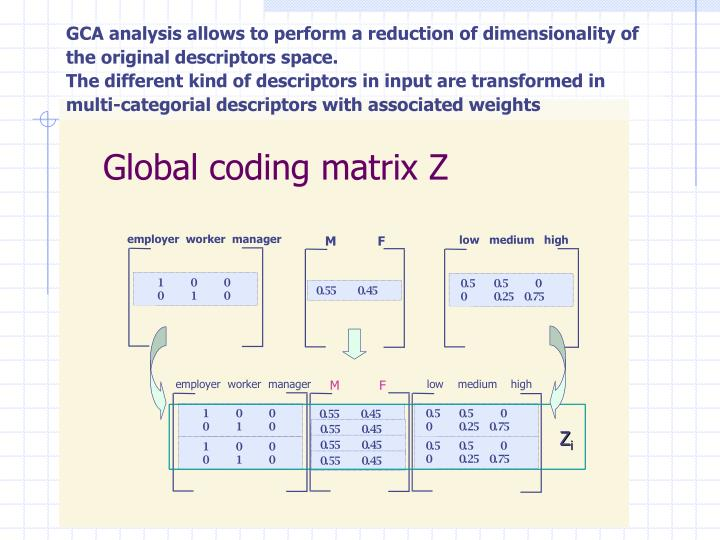 GCA analysis allows to perform a reduction of dimensionality of the original descriptors space.