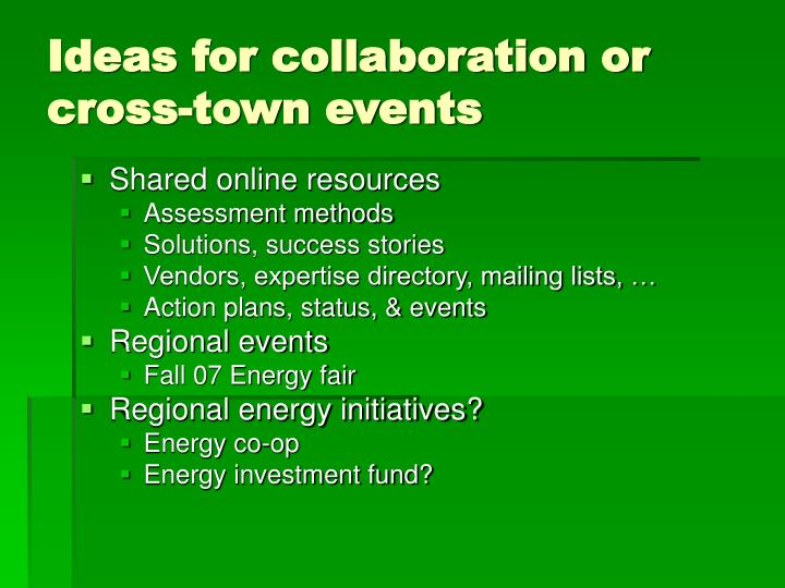Ideas for collaboration or cross-town events