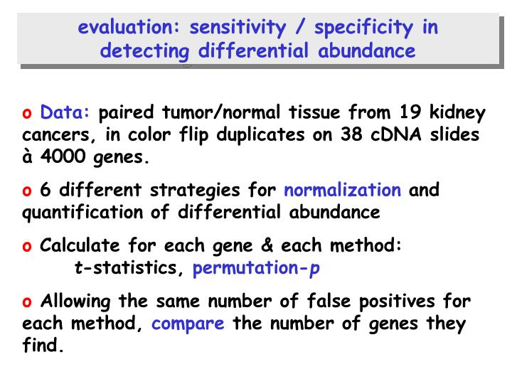 evaluation: sensitivity / specificity in
