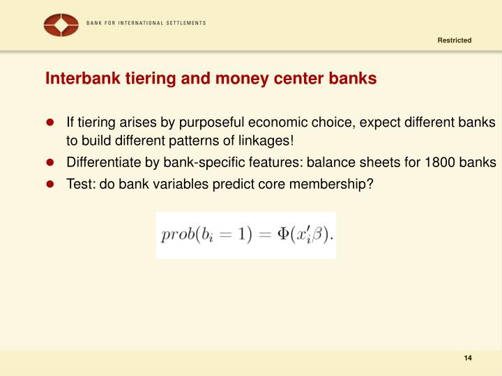 Interbank tiering and money center banks