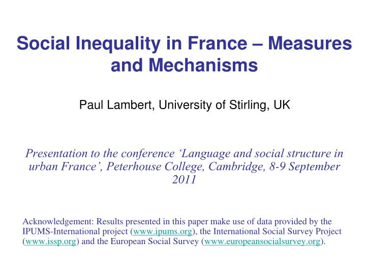 social inequality in france measures and mechanisms