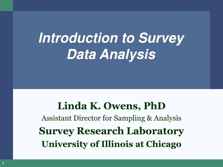 introduction to survey data analysis n.