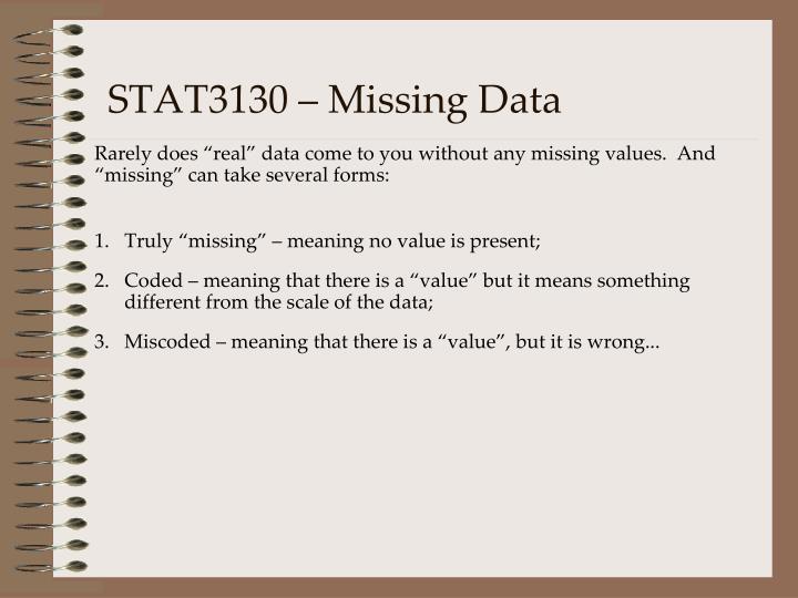 Stat3130 missing data
