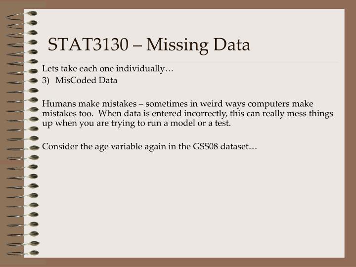 STAT3130 – Missing Data