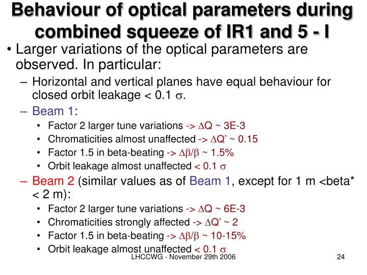 Behaviour of optical parameters during combined squeeze of IR1 and 5 - I