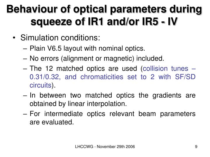 Behaviour of optical parameters during squeeze of IR1 and/or IR5
