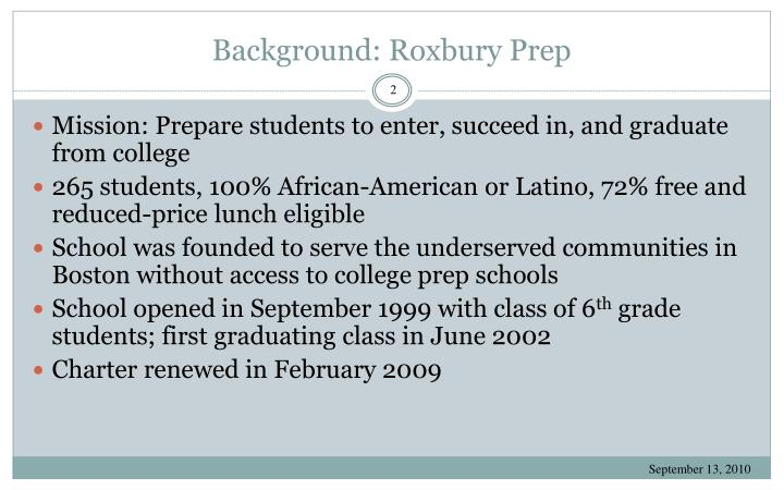 Background roxbury prep