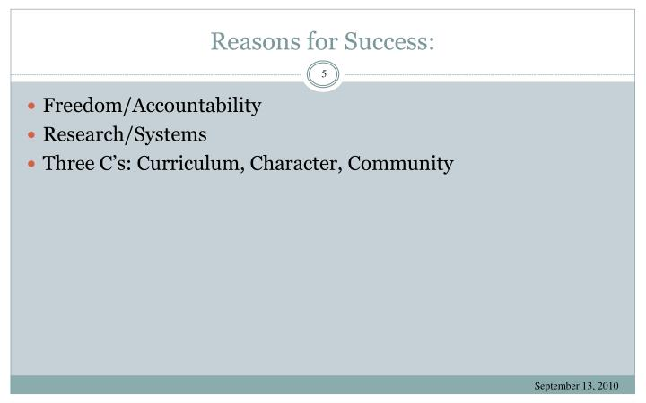 Reasons for Success: