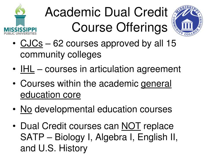 Academic Dual Credit Course Offerings