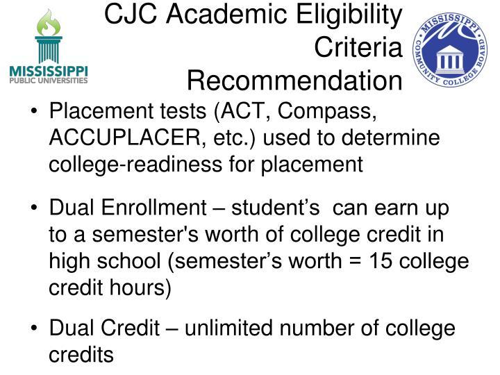 CJC Academic Eligibility