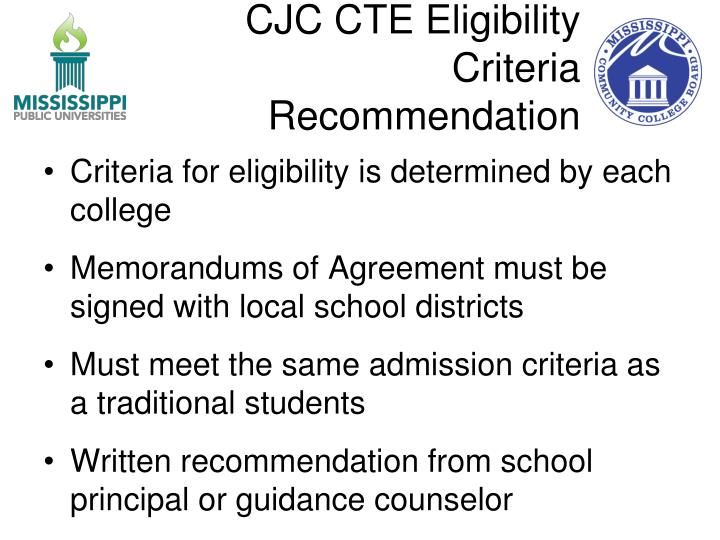 CJC CTE Eligibility