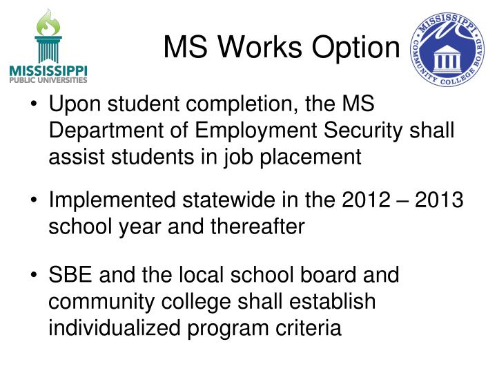 MS Works Option