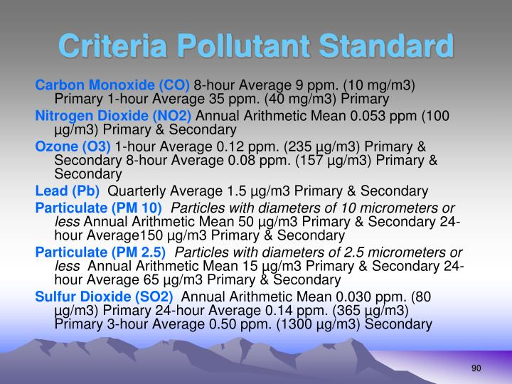 Criteria Pollutant Standard
