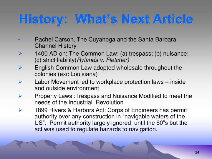 History:  What's Next Article