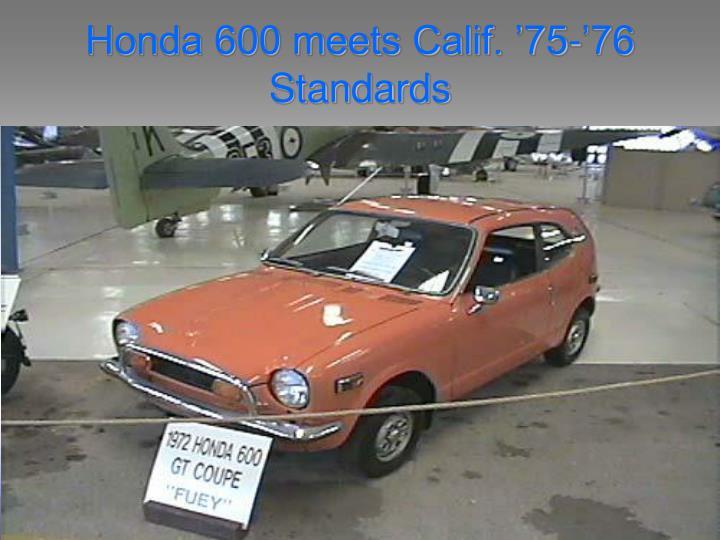 Honda 600 meets Calif. '75-'76 Standards