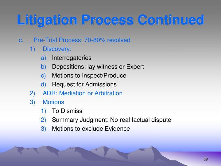 Litigation Process Continued