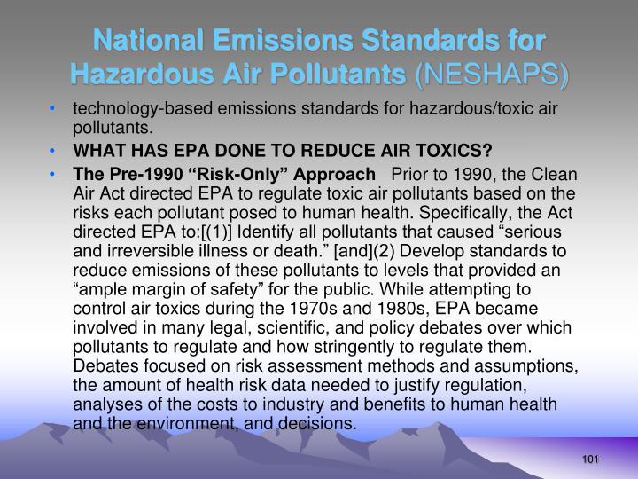 National Emissions Standards for Hazardous Air Pollutants